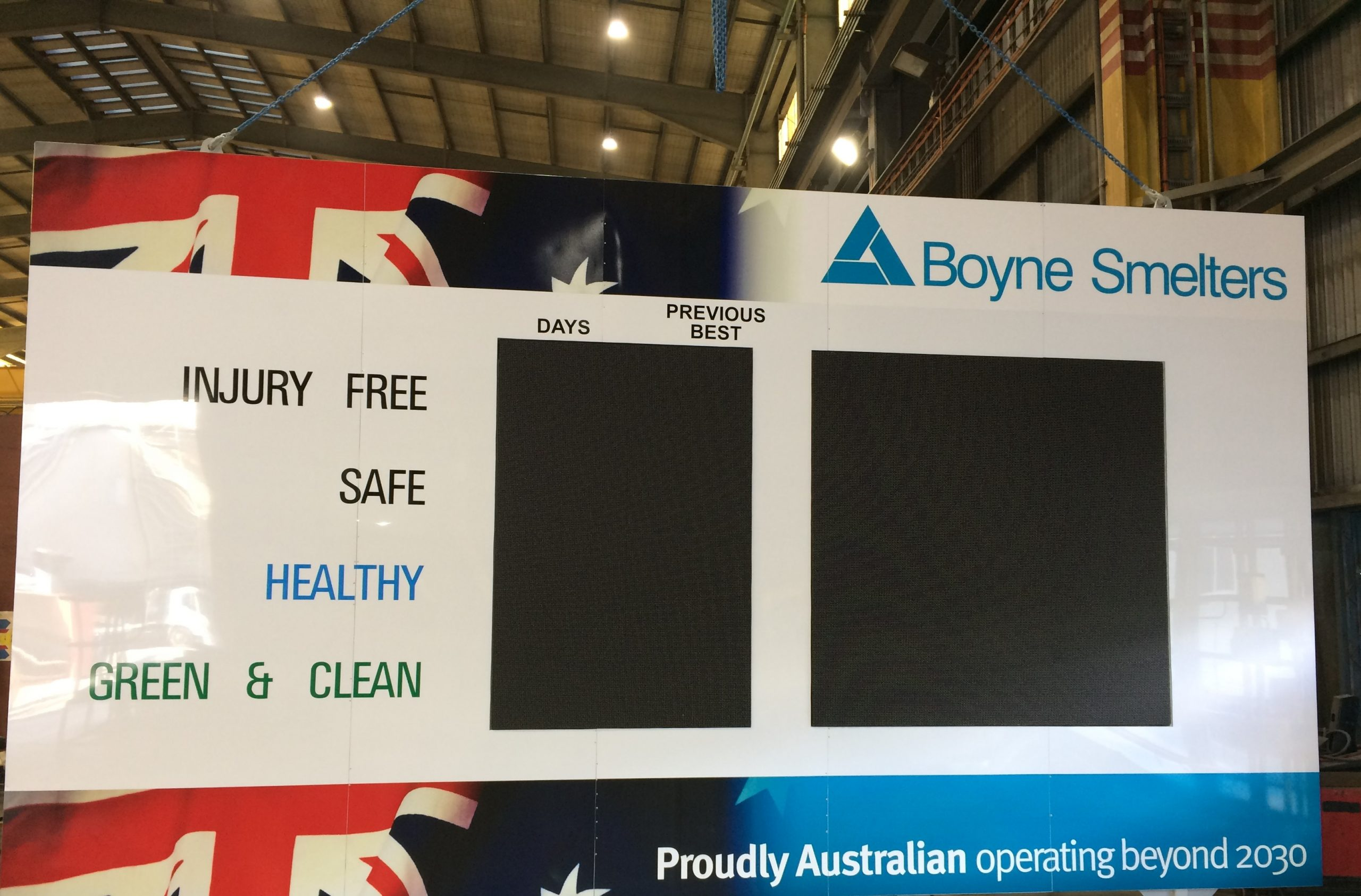 Indoor LED Sign Boyne Smelters