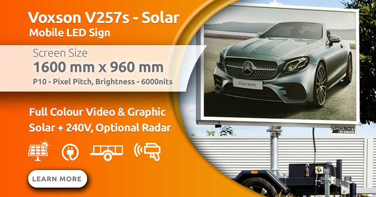 Voxson V257s Mobile Trailer Solar LED Sign