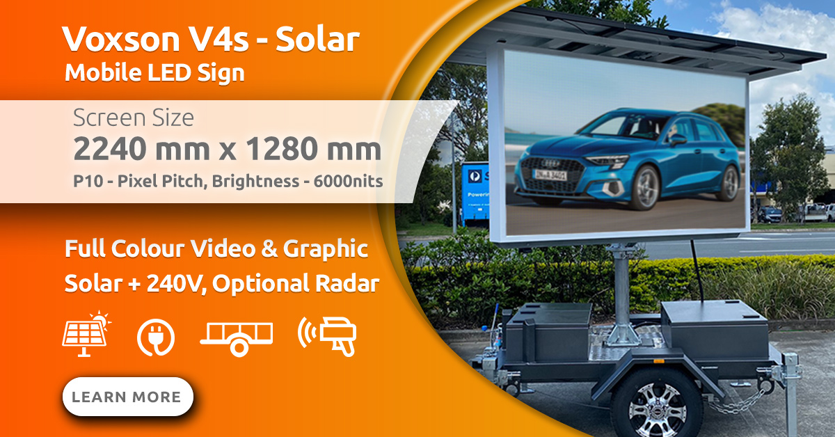 Voxson V4s Mobile Trailer Solar LED Sign