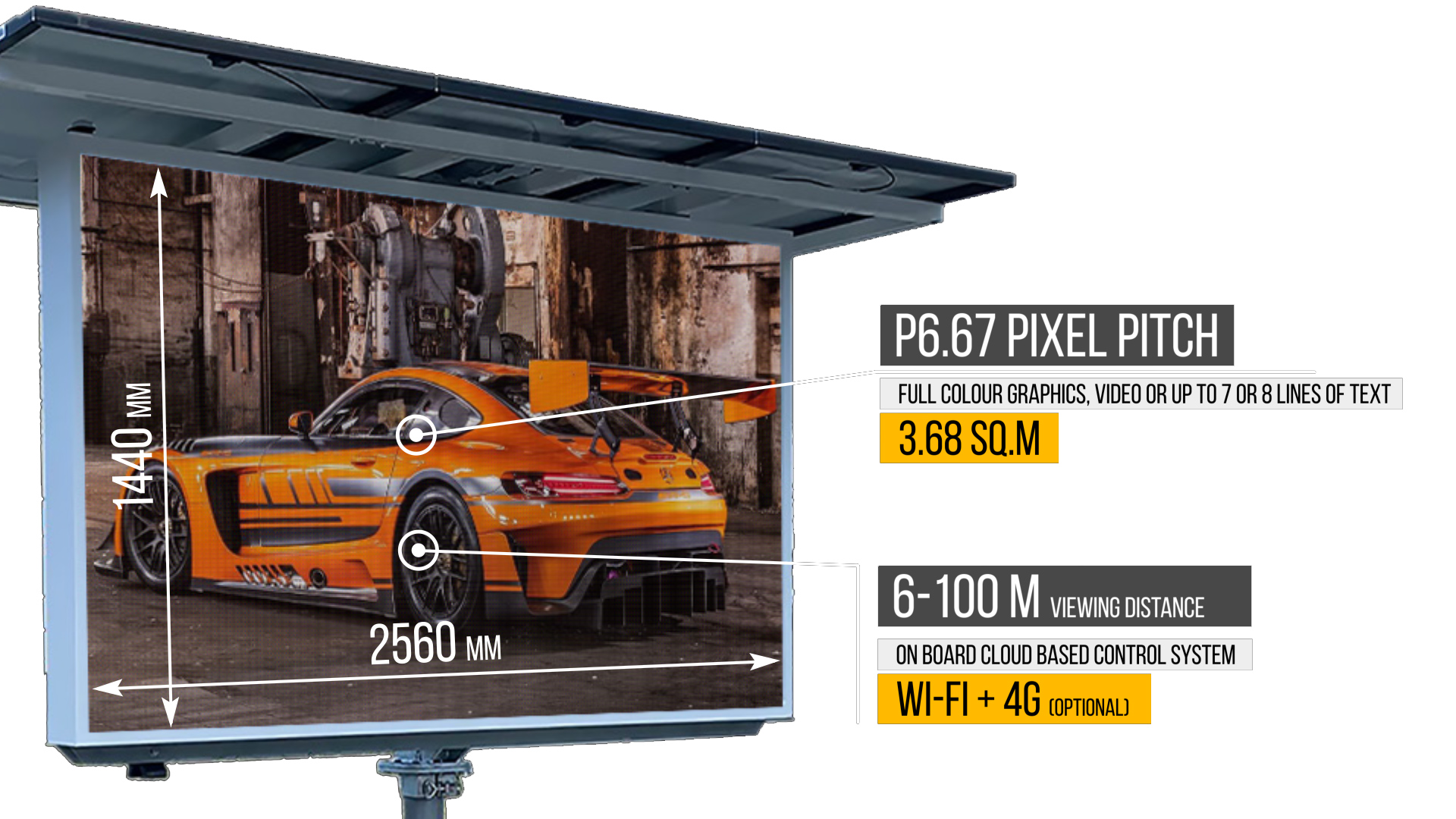 Full-colour graphics, video, or up to 7 or 8 lines of text on a single screen, can be displayed perfectly on this P10 pixel pitch screen.