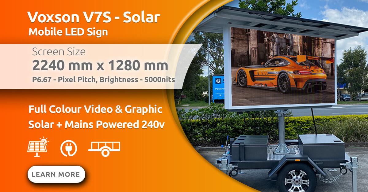 Voxson V357s Mobile Trailer Solar LED Sign