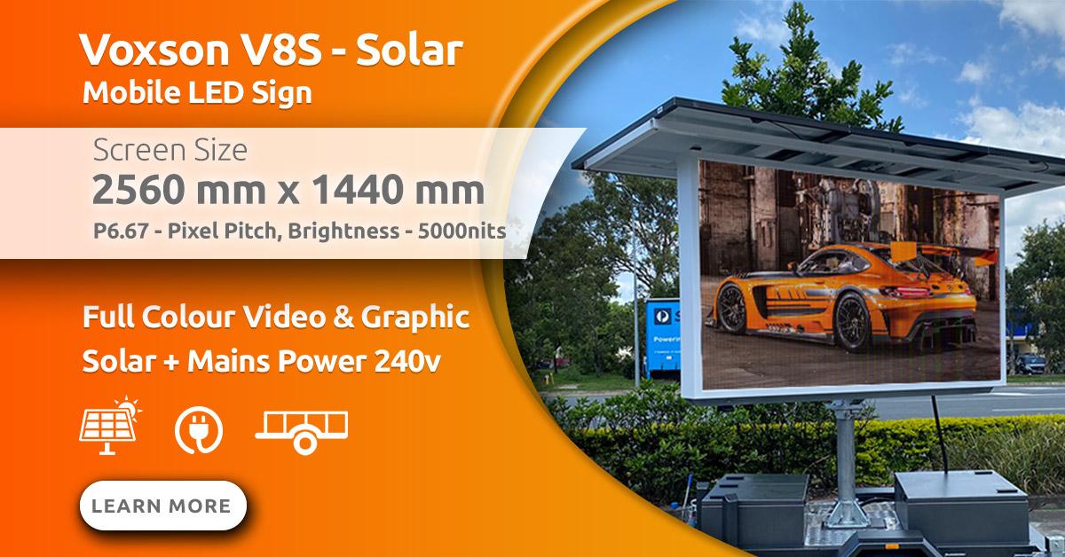 Voxson V257s Mobile Trailer Solar LED Sign