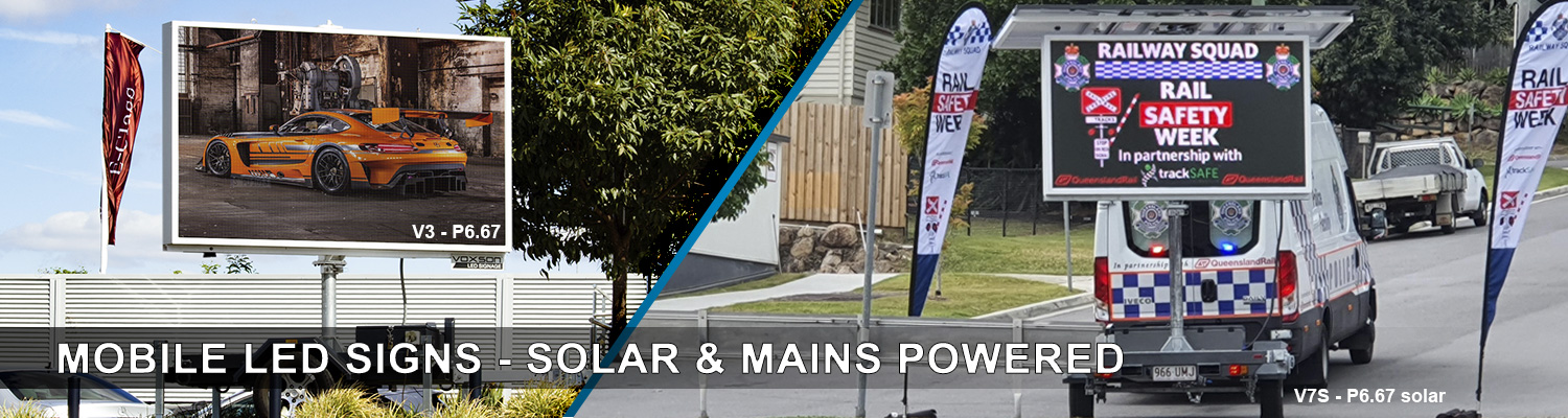 Voxson Mobile LED Signs - Solar & Mains Powered